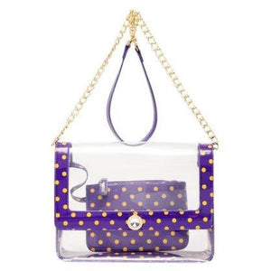 SCORE! Chrissy Medium Designer Clear Cross-body Bag - Royal Purple and  Yellow Gold