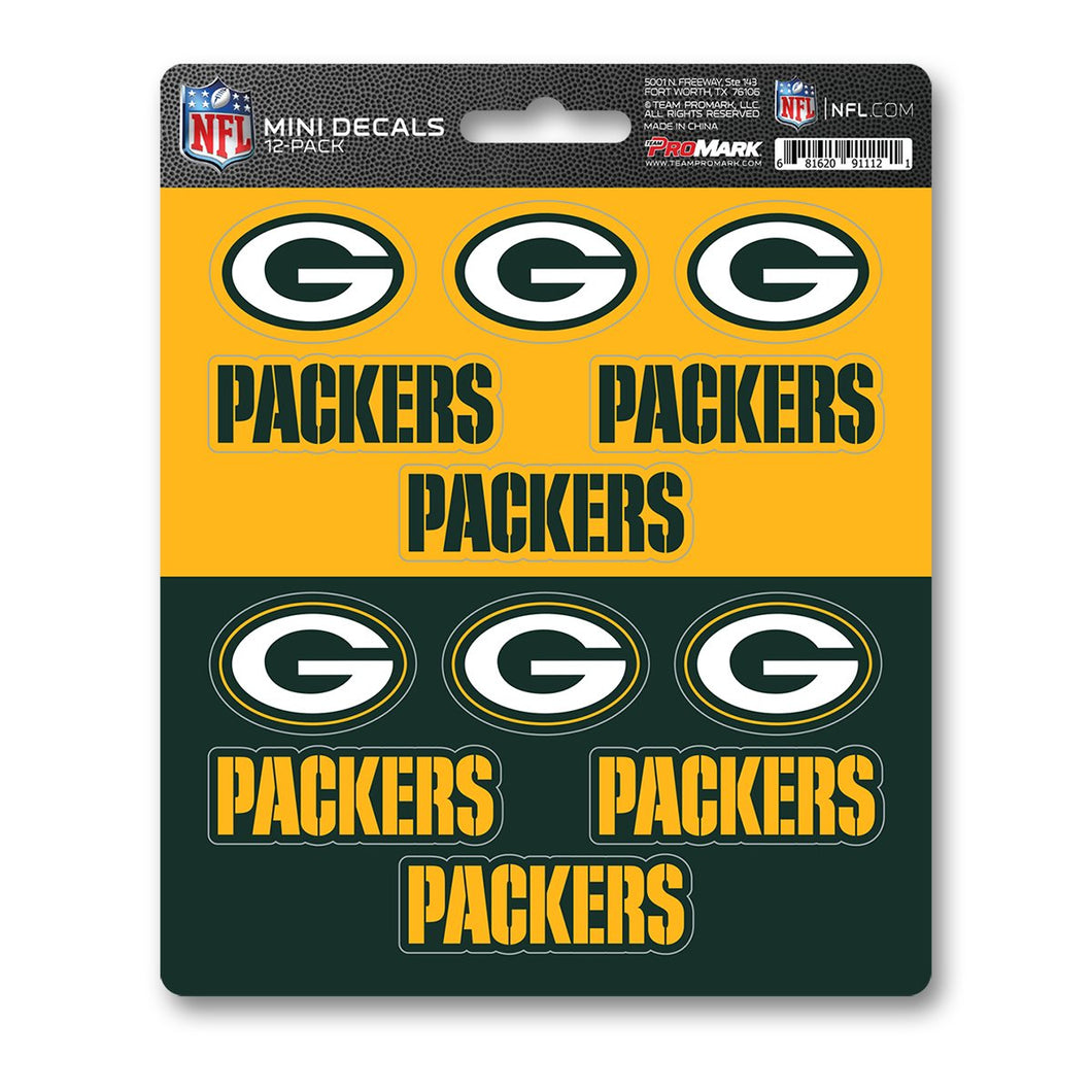 Green Bay Packers 12pk Mini Decal Green and Gold Team ProMark