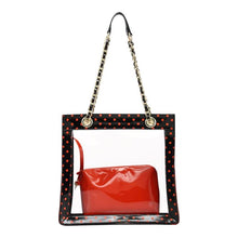 Load image into Gallery viewer, SCORE! Andrea Large Clear Designer Tote for School, Work, Travel - Black and Orange