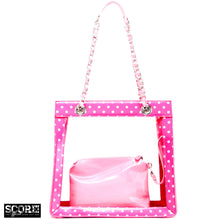 Load image into Gallery viewer, SCORE! Andrea Large Clear Designer Tote for School, Work, or Travel - Fandango Pink and Light Pink