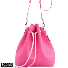 Load image into Gallery viewer, SCORE! Sarah Jean Crossbody Large BoHo Bucket Bag - Fandango Hot Pink and Light Pink