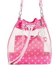 Load image into Gallery viewer, SCORE! Clear Sarah Jean Designer Crossbody Polka Dot Boho Bucket Bag-Fandango Hot Pink and Light Pink