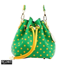 Load image into Gallery viewer, SCORE! Sarah Jean Small Crossbody Polka dot BoHo Bucket Bag - Fern Green and Gold Yellow