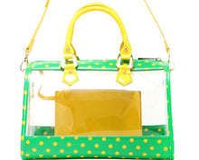 Load image into Gallery viewer, SCORE! Moniqua Large Designer Clear Crossbody Satchel - Fern Green and  Yellow Gold