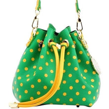 Load image into Gallery viewer, SCORE! Sarah Jean Small Crossbody Polka dot BoHo Bucket Bag - Fern Green and Gold Yellow Oregon University Ducks, Norfolk State Spartans, George Mason Patriots, Sprite, John Deere Tractor, Sigma Alpha, Alpha Sigma Tau