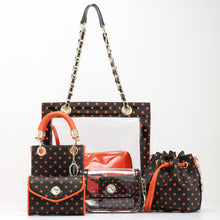Load image into Gallery viewer, SCORE! Sarah Jean Small Crossbody Polka dot BoHo Bucket Bag - Black and Orange
