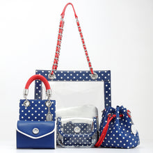 Load image into Gallery viewer, SCORE! Eva Designer Crossbody Clutch - Navy Blue, White and Red
