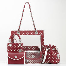 Load image into Gallery viewer, SCORE! Jacqui Classic Top Handle Crossbody Satchel - Maroon Crimson and White