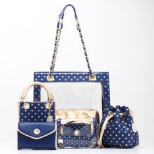 Load image into Gallery viewer, SCORE! Jacqui Classic Top Handle Crossbody Satchel - Navy Blue and Gold