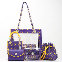 Load image into Gallery viewer, SCORE! Chrissy Small Designer Clear Crossbody Bag - Purple and Gold Yellow