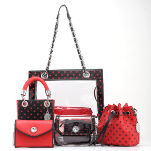 SCORE! Sarah Jean Small Crossbody Polka dot BoHo Bucket Bag - Red and Black
