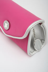 SCORE! Eva Designer Crossbody Clutch - Pink and Silver