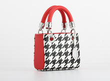Load image into Gallery viewer, SCORE! Jacqui Classic Top Handle Crossbody Satchel  - Black and White Houndstooth and Red