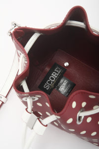 SCORE! Sarah Jean Small Crossbody Polka dot BoHo Bucket Bag- Maroon Crimson and White Alabama A&M Huntsville Bulldogs, 