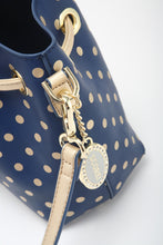 Load image into Gallery viewer, SCORE! Sarah Jean Small Crossbody Polka dot BoHo Bucket Bag - Blue and Gold Gold