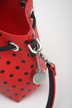 Load image into Gallery viewer, SCORE! Sarah Jean Small Crossbody Polka dot BoHo Bucket Bag - Red and Black