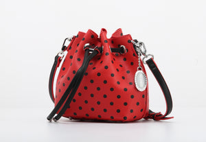 SCORE! Sarah Jean Small Crossbody Polka dot BoHo Bucket Bag - Red and Black Cal State Northridge Matadors, Gardner-Webb Running Bulldogs, Davidson Wildcats, Cincinnati Bearcats, Arkansas State Red Wolves, Northern Illinois Huskies, San Diego State Aztecs, 