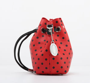 SCORE! Sarah Jean Small Crossbody Polka dot BoHo Bucket Bag - Red and Black MLB Cincinnati Reds, Arizona Diamondbacks, NFL