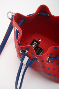 SCORE! Sarah Jean Small Crossbody Polka dot BoHo Bucket Bag - Red and Blue MLS New York City Red Bulls, New England Revolution, American Eagles, Richmond Spiders, Delaware State Hornets, Tulsa Golden Hurricanes, Penn Quakers, Stoney Brook Seawolves, UIC Flames, Presbyterian Blue Hose, Samford Bulldogs, Saint Mary's Gaels, South Carolina State Bulldogs, Fairleigh Dickinson Knights, DePaul Blue Demons, Duquesne Dukes, Dayton Flyers