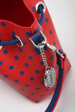 Load image into Gallery viewer, SCORE! Sarah Jean Small Crossbody Polka dot BoHo Bucket Bag - Red and Blue