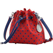 Load image into Gallery viewer, SCORE! Sarah Jean Small Crossbody Polka dot BoHo Bucket Bag - Red and Blue  Georgia State University, Bluefield College, Southern Alabama Jaguars, UMass Lowell River Hawks, Belmont Bruins, American University Eagles, Robert Morris Colonials, Detroit Mercy Titans, Saint Mary's Gaels, Liberty Flames, Gonzaga Bulldogs, NFL New York Giants, New England Patriots, MLB Cleveland Indians, Philadelphia Phillies, Texas Rangers, Atlanta Braves