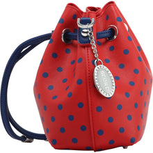 Load image into Gallery viewer, SCORE! Sarah Jean Small Crossbody Polka dot BoHo Bucket Bag - Red and Blue Frisco Toros, Hoops Burn