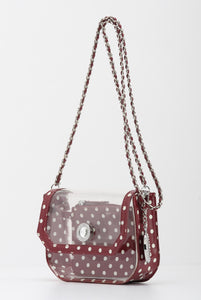 SCORE! Chrissy Small Designer Clear Crossbody Bag- Maroon and White