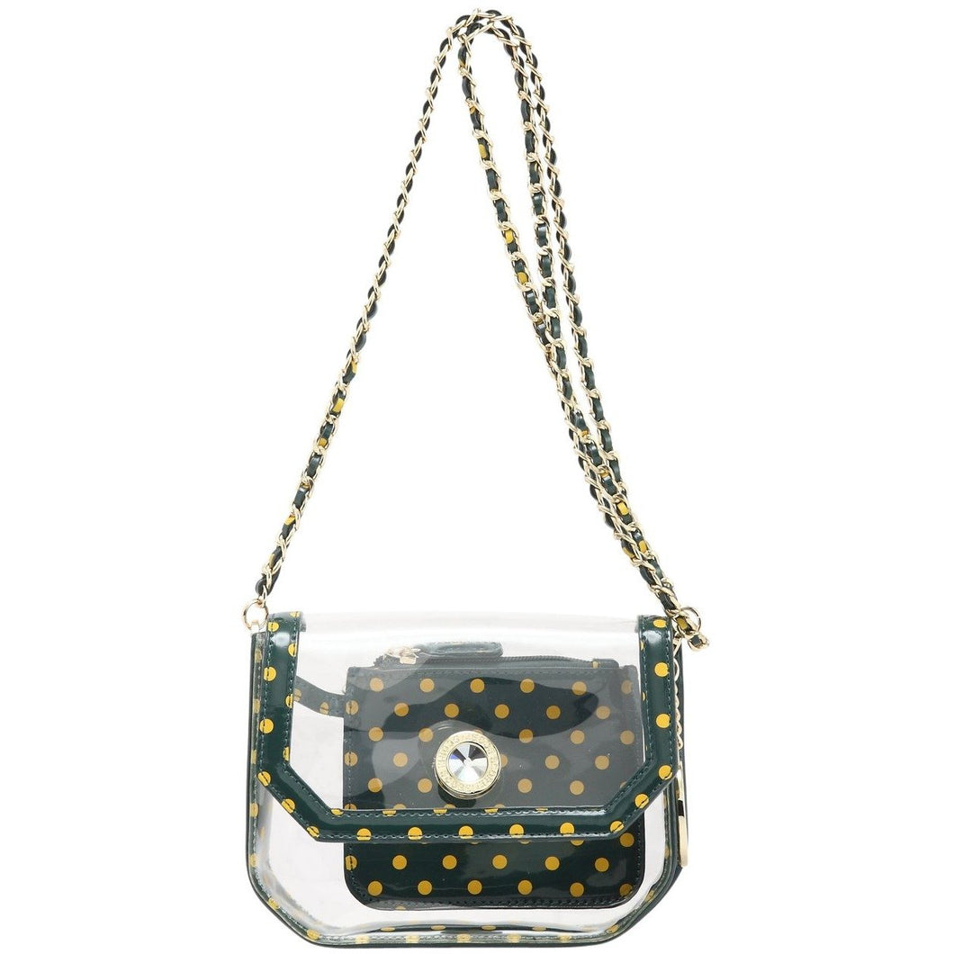 SCORE! Chrissy Small Designer Clear Crossbody Bag - Green and Gold