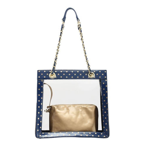 SCORE! Andrea Large Clear Designer Tote for School, Work, Travel - Navy Blue and Metallic Gold