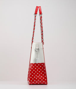 SCORE! Andrea Large Clear Designer Tote for School, Work, Travel - Red and White