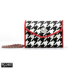 Load image into Gallery viewer, SCORE! Eva Designer Crossbody Clutch - Black and White Houndstooth with Racing Red