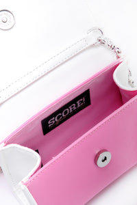SCORE! Eva Designer Crossbody Clutch - Pink and White