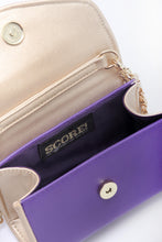 Load image into Gallery viewer, SCORE! Eva Designer Crossbody Clutch - Purple and Gold Gold
