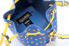 Load image into Gallery viewer, SCORE! Sarah Jean Small Crossbody Polka dot BoHo Bucket Bag- Royal Blue and Gold Yellow Houston Baptist Huskies, Southern Jaguars, UCLA Bruins, Delaware Fighting Blue Hens, NBA Golden State Warriors, Denver Nuggets, MLB Milwaukee Brewers, NHL St. Louis Blues