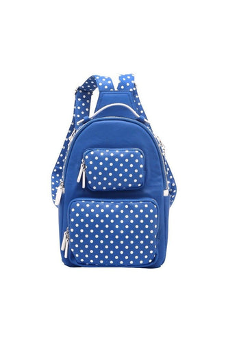 CORE! Natalie Michelle Medium Polka Dot Designer Backpack - Royal Blue and White