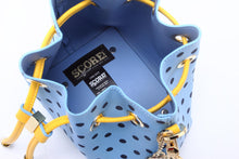 Load image into Gallery viewer, SCORE! Sarah Jean Small Crossbody Polka dot BoHo Bucket Bag - Light Blue, Navy Blue and Yellow Gold