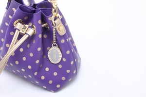 SCORE! Sarah Jean Small Crossbody Polka dot BoHo Bucket Bag - Purple and Gold Gold