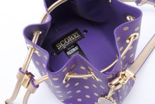 Load image into Gallery viewer, SCORE! Sarah Jean Small Crossbody Polka dot BoHo Bucket Bag - Purple and Gold Gold