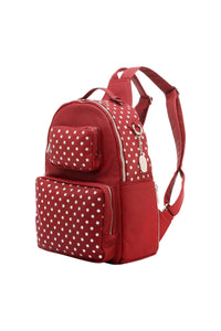 SCORE! Natalie Michelle Medium Polka Dot Designer Backpack  - Maroon and Silver