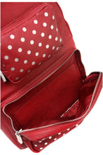 Load image into Gallery viewer, SCORE! Natalie Michelle Medium Polka Dot Designer Backpack  - Maroon and Silver