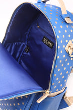 Load image into Gallery viewer, SCORE! Natalie Michelle Large Polka Dot Designer Backpack - Imperial Royal Blue and Gold Metallic