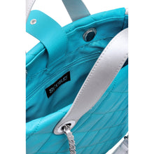 Load image into Gallery viewer, SCORE!'s Kat Travel Tote for Business, Work, or School Quilted Shoulder Bag- Turquoise and Silver