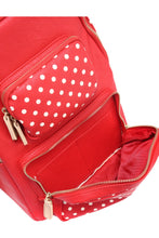 Load image into Gallery viewer, SCORE! Natalie Michelle Large Polka Dot Designer Backpack- Red, White and Gold