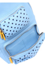 Load image into Gallery viewer, SCORE! Natalie Michelle Medium Polka Dot Designer Backpack  - Light Blue, Navy Blue and Yellow Gold