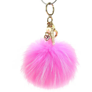 "Real Fur Puff Ball Pom-Pom 6"" Accessory Dangle Purse Charm - Pink with Gold Hardware"