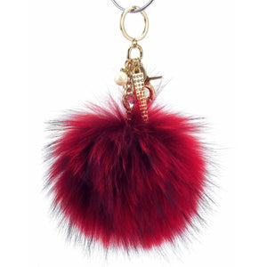 "Real Fur Puff Ball Pom-Pom 6"" Accessory Dangle Purse Charm - Red with Gold Hardware"