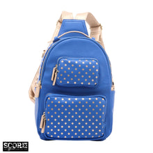 Load image into Gallery viewer, SCORE! Natalie Michelle Medium Polka Dot Designer Backpack  - Imperial Blue and Metallic Gold