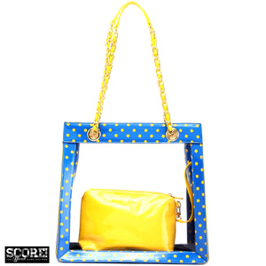 SCORE! Andrea Large Clear Designer Tote for School, Work, Travel - Imperial Blue and  Yellow Gold