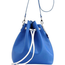 Load image into Gallery viewer, SCORE! Sarah Jean Crossbody Large BoHo Bucket Bag - Royal Blue and White