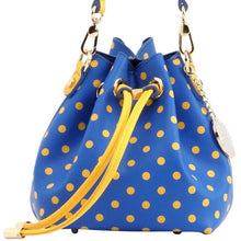Load image into Gallery viewer, SCORE! Sarah Jean Small Crossbody Polka dot BoHo Bucket Bag- Royal Blue and Gold Yellow  Tri Delt Delta Delta Delta sorority sisters, or a sports bar with friends to watch University of Nebraska Kearney, Ithaca College, Delaware Fighting Blue Hens, Morehead State Eagles, Kansas City Roos, South Dakota State Jackrabbits, San Jose State Spartans, North Carolina A&T Aggies, Kent State Golden Flashes, McNeese State Cowboys